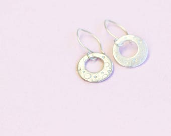 silver hoop dangle earrings, fine and sterling silver, luna
