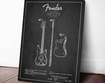 1960 Fender Bass Guitar Patent, Canvas Print, Guitar Print, Guitar Art, Wall Art, Home Decor, Gift Idea, MUIN20C