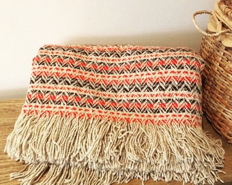 Vintage Pendleton woven wool blanket fringe chevron red tan black throw 1970s