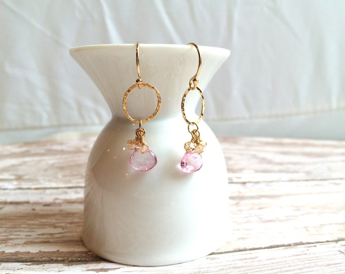 Pink Topaz and Gold Hoop Earrings--Perfect for Valentine's Day