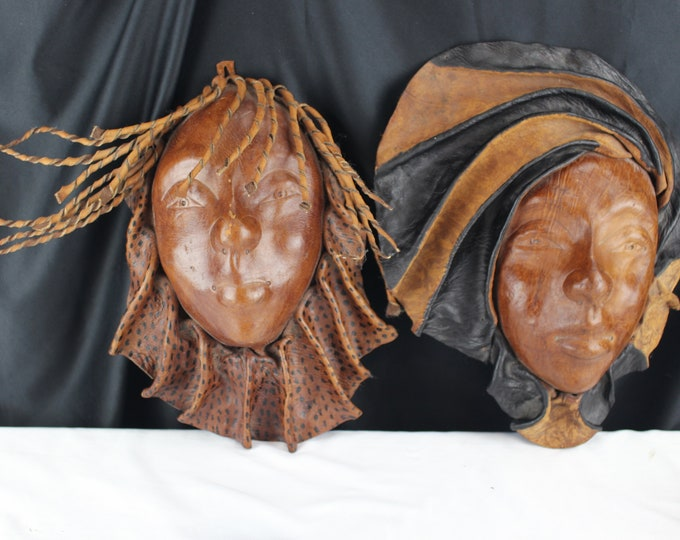 Vintage African Leather Face Mask Tribal Decor Home Decor Collectible