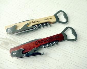 Bottle Opener, Personalized Bottle Opener, Groomsmen Gift, Wedding Gift, Engraved Corkscrew, Custom Beer Opener, Custom Wine Opener