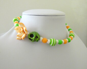 Day of the Dead Necklace Sugar Skull Jewelry Choker Memory Wire Green Peach Orange White