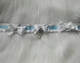 White Sky Blue Kitten Play Collar Choker