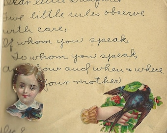 dear little daughter poem autograph book 1930s sweet