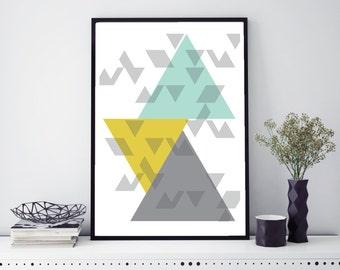 Geometric Wall Art // Wall Art  // Unframed Print // Grey, Mustard & Blue Wall Art // Geometric Print