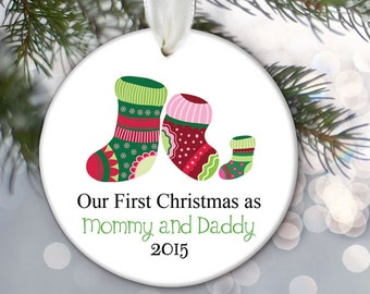 New Parents Ornament Our first Christmas as Mommy & Daddy Personalized Christmas Ornament Family Ornament Christmas Gift OR266