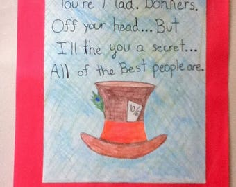 Mad Hatter Alice in Wonderland Quote (illustration)