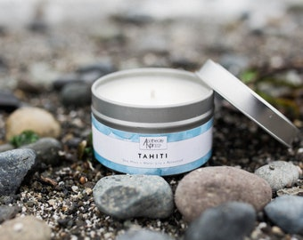 TAHITI - Scented Soy Candle in Travel Tin - Sea Moss + Water Lily + Rosewood