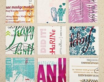 2-inch letterpress paper squares