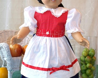 Handmade Doll Clothes Red, White and Blue Dress fits 18 inch dolls