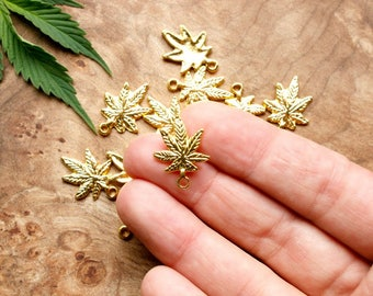 10 Bright Gold Finish Cannabis Leaf Shaped Charms - 15mm x 21mm - Lead-Free Zinc Alloy - Ganja, Weed, Marijuana, Maryjane, 420, Pot, MMJ