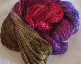 Hand dyed Tencel Yarn - 4/2 Tencel Lace Wt. Yarn  DAHLIA BOUQUET - 420 yards