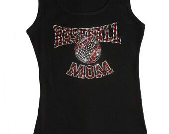 Black Rhinestone Baseball Mom tank