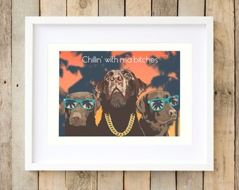 Labrador funny gamer gifts for him Dog lover gifts room decor Mens gift 21st birthday gifts Man cave gangster dog art Gamer couple gift idea