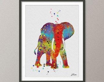 Elephant Print Elephant watercolor Elephant art illustrationElephant poster wall decor wall hanging art decor Elephant poster gift A039