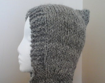 Handspun gray alpaca hooded scarf