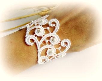 Bracciale pizzo ricamato polsino pizzo bianco avorio nero gioielli sposa regalo per lei bracciale stoffa bracciale fascia merletto