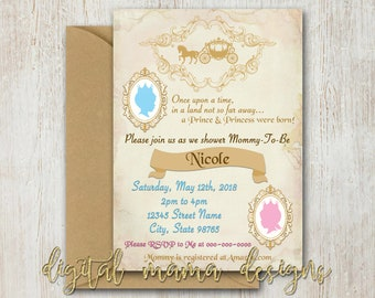 Prince & Princess Twins Baby Shower Invite - Once Upon a Dream Twins Invite - Fairy Tale Shower Invitation - Personalized Digital Download