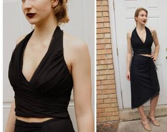 Vintage TADASHI 90s sheer mesh 2pc Dress HALTER/SKIRT - 1990s Body Con (Extra Small)