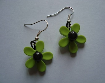 Black and green Fleur earrings