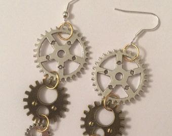 Steampunk Cogs and Gears Dangle Earrings