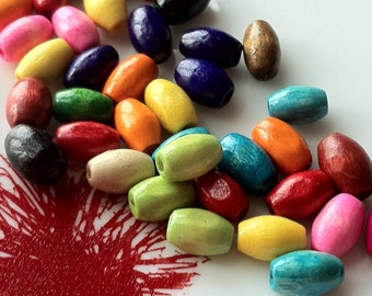 8 x 4 mm Assorted Color Rice Wooden Beads (.mmht)