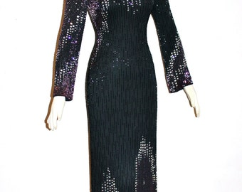 BOB MACKIE Vintage Gown Couture Original 70's Heavily Beaded Dress - AUTHENTIC -