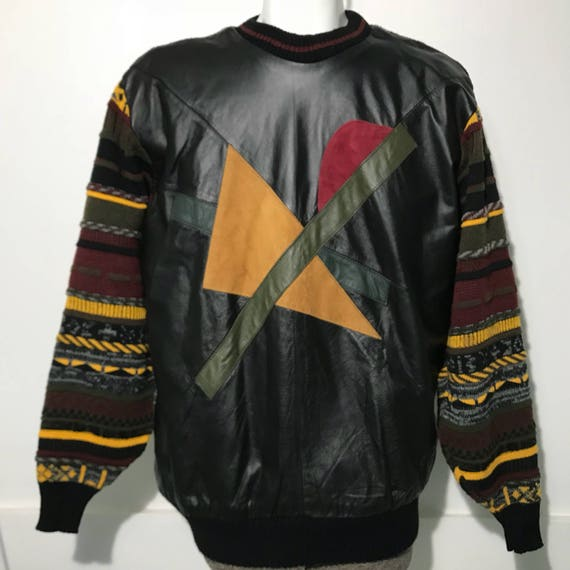 Vintage Real Leather Coogi Style Sweater by Trutus XL qUgX5gz