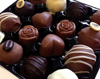Luxury box of chocolates, 16 hand-made truffles and filled chocolates, perfect gift