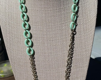 Retro Chain and Link Teal Necklace