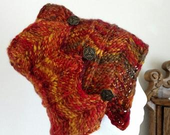 Headwrap/Messy Bun Hat/Headband for Winter - Fire Phoenix Colors - Handspun Handknit Bohemian Headwrap with Art Deco Brass Buttons