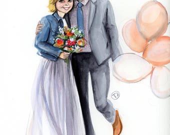 "8""x10"" Custom Watercolor Fashion Illustration - Family Portrait"