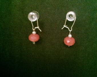 Rose quartz pearl silver earrings
