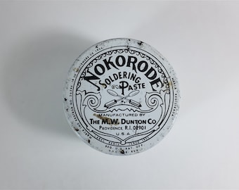 Nokorode soldering paste vintage tin 1.7 oz - Antique round tin box - Collectible tin from Providence Rhode Island USA