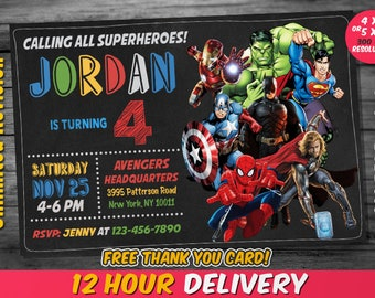 Superhero Invitation with FREE Thank you card / Superhero Avenger Birthday Invitation / Avenger Invitation / Boy Invitation /
