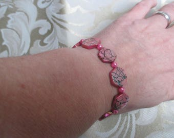Pink with Black Shell Bracelet