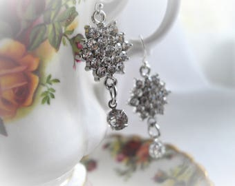 Rhinestone Dangle Earring Special Occasion Sterling Silver Sparkly Swarovski Elements Hand Assembled With Free Gift Box HandcraftUSA Etsy