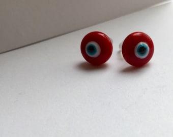 Red Evil Eye Stud Earrings