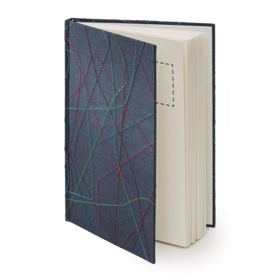 FIREWORKS. Hand bound journal. Blue hard cover with multicolor embroidery. Gift for her. Wedding gift. Hostess present