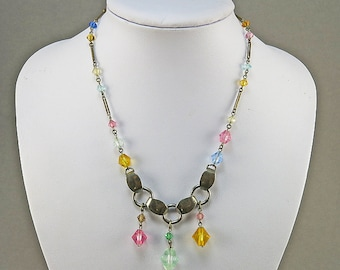 Vintage Czech Glass Beads Necklace Faceted Beads 1930s Jewelry Vintage Jewellery Antiques Collectible Old beads
