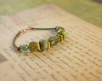 Green and Aqua Gemstone and Glass Leather Bracelet