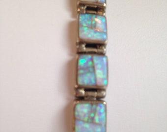 Vintage Sterling Silver Inlaid Opal Link Bracelet Calvin Begay TSF