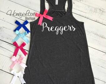 Preggers tank, Choose bow color! Pregnancy Announcement, Gender Reveal, flowy tank black or gray, maternity, preggo shirt Women's S-2XL