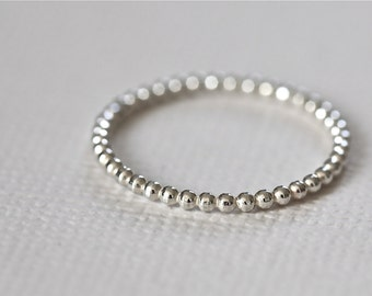 beaded ring, stackable ring, staking ring, textured ring, skinny ring, dainty ring - sterling silver bead ring