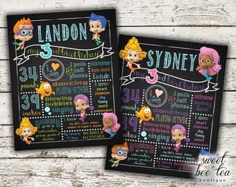 Bubble Guppies Poster Birthday Party Chalkboard - Boy Girl Any Age - Custom Printable Digital File - Photo Prop - Display - Guppy Invitation