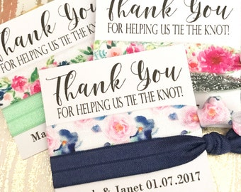 Bridesmaids Gift  Hair Ties | Thank you for helping us tie the knot | Wedding Favors - Hair Tie Favor - Bridal Party Favors - The Knot