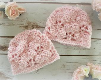 Pink Marshmallows Baby Beanie Hat, Crochet Pattern, Size 0-3 Months, Easy Crochet Pattern, Instant PDF Download