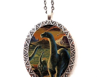 Dinosaur Necklace Pendant Silver Tone - Dinosaurs Retro Kitsch Prehistoric Illustration