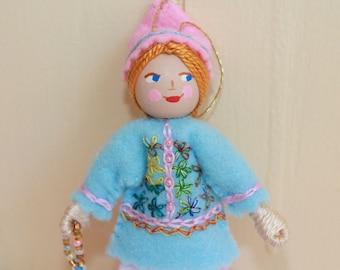 Felt Art Doll Hanging Ornament Pastel Blue and Pink Pixies Spring Decoration, Handmade Felt Dolls, Basket filler